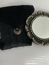 Two'S Company Antique Silver Flower Scroll Compact Purse Mirror