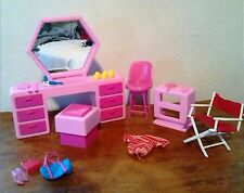 Barbie Furniture Lot of 20 Pieces Accessories Pink Vanity Stool Side Table Arco