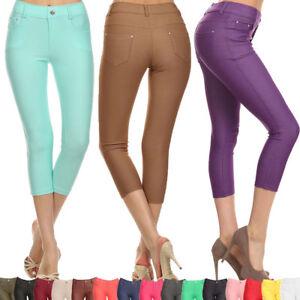 Colorful Jeggings Stretchy Skinny Leggings Pencil Capri Pants Plus S~3XL Yoain
