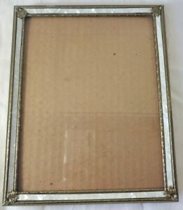 Vintage Gold-tone Brass Picture WALL Frame, 8x10, Faux Mother-of-pearl - READ