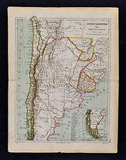 1885 Cortambert Map Argentina Chili Uruguay Paraguay Buenos Aires South America