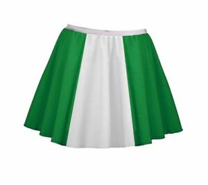 "Ladies 15"" Irish Emerald Green & White Skater Skirt St. Patricks Day Fancy Dress"