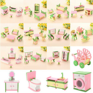 12 Set Wooden Furniture Dolls House Room Family Miniature Toys Kids child Gifts