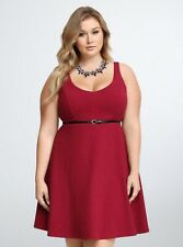 New Torrid Retro Pinup Goth Pinup Red Textured V-Neck Skater Dress Plus Size 2x