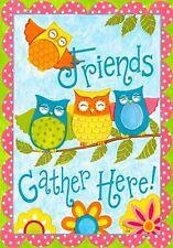 "MINI OWL GARDEN FLAG ""OWL FRIENDS"""