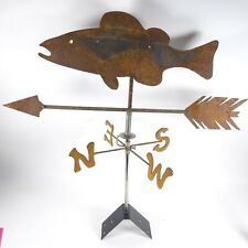 Large Iron Fish Weathervane Directional Arrow Trout Rustic Rust Wind Bass