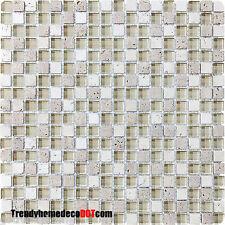 10-Sf cream Dune stone Glass Mosaic Tile kitchen backsplash wall bathroom shower