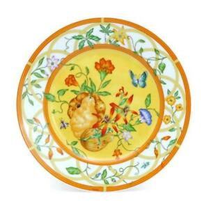 Hermes Siesta Cake Plate Dish Tableware Yellow Floral Ornament Porcelain New