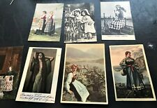 Norway Postcards of Beautiful Women 7 different w/ old STAMPS! Kristiana Oslo