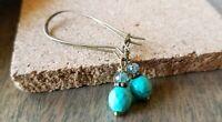 Faceted Stone Earrings Turquoise Howlite Czech Glass Dangle Earrings Bronze