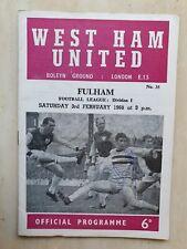 More details for 1967/68 west ham united v fulham signed by john cushley - 3rd february