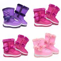 KIDS GIRLS NEW CHILDREN INFANTS WARM WINTER POM FASHION SNOW BOOTS SHOES SZ
