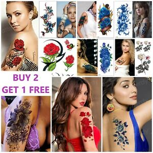 REALISTIC Flowers & Roses Love Temporary Tattoos Womens Girls Stickers Arm Leg