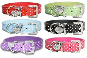 PU Leather Dog Collar Diamante Coller Pet Bling Puppy Small Medium Large Spotty