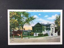 Niles, Michigan Public Library Linen POST CARD