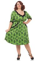 Voodoo Vixen Cat Green Katnis Dress 50s PinUp Rockabilly Vintage Party Plus Size