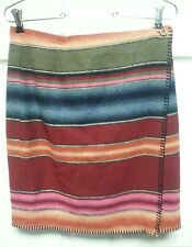 Vintage Indian Blanket Like Skirt Size 10 Very Good Rich Colors Cranberry Pink