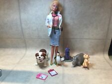 Barbie Doll Pet Vet w Coat, animals, needle, clip boards, stethoscope & phone