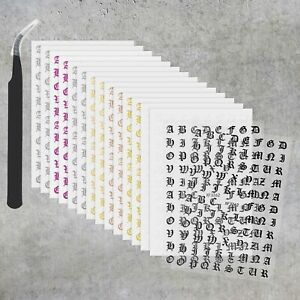 16 Sheets of 3D Abstract Letters Nail Art Stickers Self Adhesive with Tweezers