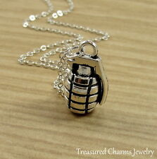 Silver Hand Grenade Charm Necklace - 3D Grenade Explosive Weapon Bomb Jewelry