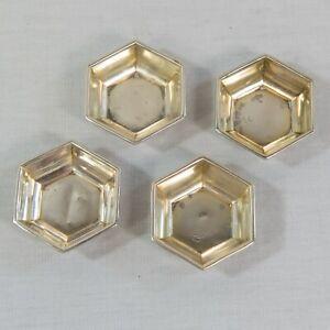 Set of 4 Webster Sterling Silver Hexagonal 6 Sided Salt Cellars (BBO)