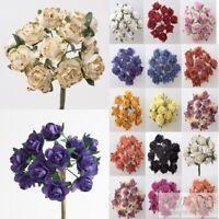 Miniature Mulberry Paper Tea Rose 15mm Flower -Cards Scrapbooking Embellishments