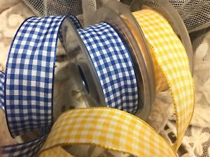 """Vintage Ribbon 7/8"""" wire Check Rayon Acetate 1yd Made in France"""