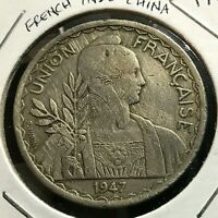 1947 FRENCH INDO CHINA ONE PIASTRE REEDED EDGE CROWN COIN