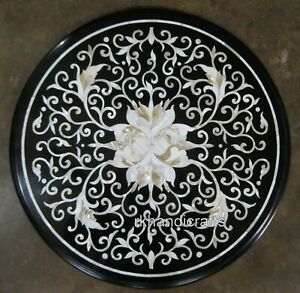 27 Inches Marble Patio Table Top Hand Made Coffee Table with Shiny Gemstones Art