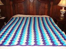 Handcrafted Crochet Afghan Throw Blanket ~ Nice Design Pattern ~ Blue