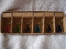 Set of 6  Christmas Tree Wine Glass Charms
