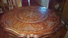 Stylla London Indian Sheesham carved table with brass inlay.Great condition.