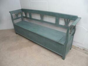 A Stunning Painted Light Grey & Green Antique/Old Pine Kitchen Box/Settle/Bench