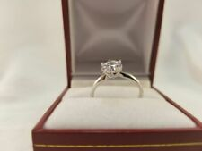 CZ Solitaire Engagement Ring 14k White Gold Bridal Cubic Zirconia 1 Ct