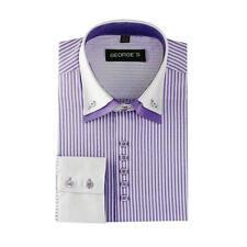 Men's Casual Button Down Double Collar Striped Dress Shirt AH606 Black Navy Wine