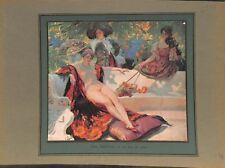 Le banc de marbre dans un jardin jeune femme nue Paul Gervais ILLUSTRATION 1914