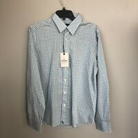 Untuckit Mens Large Regular Fit Blue Aqua Check Roussilion Long Sleeve Shirt