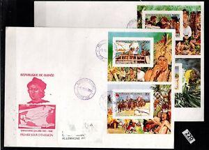 # GUINEA 1986 - 2 FDC - COLUMBUS, SHIPS, FLORA