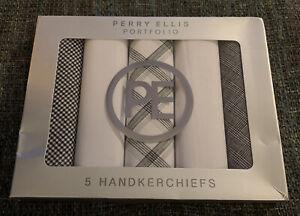 Nwt Perry Ellis Portfolio 5 Handkerchiefs Set White Gray  Black R8