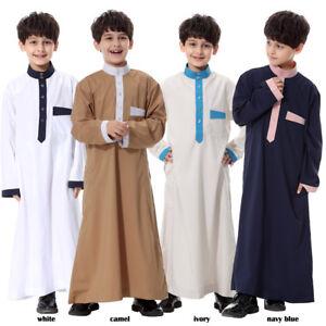 Kids Boys Robe Muslim Abaya Arab Kaftan Saudi Thobe Thoub Dishdasha Maxi Dress