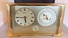 RARE VINTAGE SEIKO QUARTZ BRASS WORLD TIME CLOCK MADE BY THE SEIKOSHA CO  JAPAN