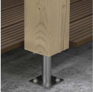 Heavy Duty Galvanised Bolt Down BASE POST SUPPORT /Foot / ELEVATOR 80mm & 100 mm
