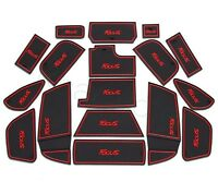 17pcs Focus Car Red Non-slip Door Cup Holder Rubber Mats For New Focus 15-17