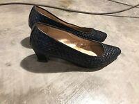 VTG Sesto Meucci Navy Blue Leather Woven Heels Shoes 8.5 M - Modern SZ 7.5