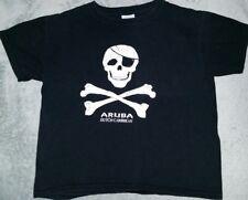 kids size M black aruba dutch caribbean tshirt black. skull crossbones pirate