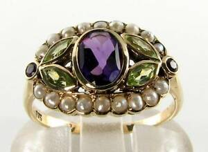 SUFFRAGETTE 9K 9CT YELLOW GOLD AMETHYST PERIDOT PEARL ART DECO INS CLUSTER RING