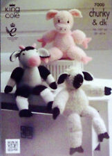 King Cole Chunky DK Knitting pattern Farmyard collection Pig Sheep Cow 7000