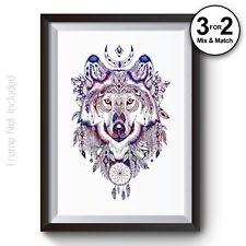 df5e24a7e46 Geometric Wolf Wall Art Print Aztec Home Decor Native American Galaxy Poster