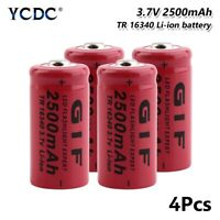 4Pcs 16340 Battery 2500mAh 3.7V Rechargeable Cell For Torch Electric Car Toy 63