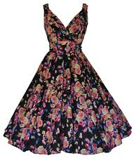 Ladies 1940's 1950's Retro Vintage Black Flowers Full Circle Tea Dress New 10-28